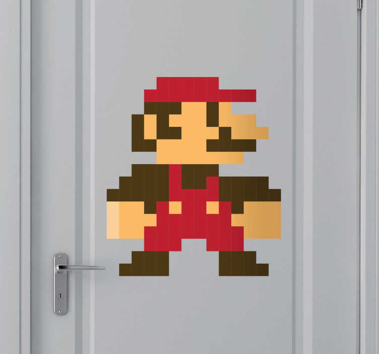 TenStickers. Naklejka ośmiobitowy Supermario. Chcesz przenieść się w ośmiobitowy świat Mario? Nasza naklejka na ścianę spełni oczekiwania wszystkich fanów legendarnego hydraulika.