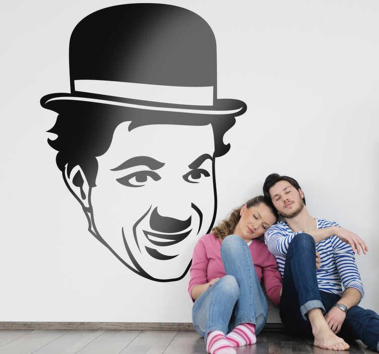 TenVinilo. Vinilo decorativo cara Chaplin. Retrato adhesivo de Charlotte, el personaje más reconocido del cine mudo.