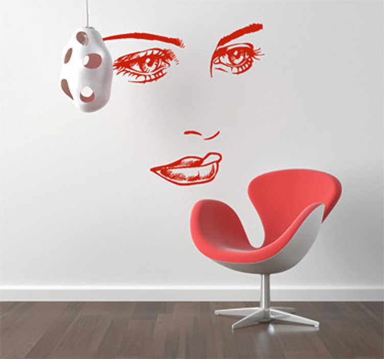TenStickers. Verträumtes Gesicht Aufkleber. Diese hübschen Augen laden zum Träumen ein. Dekorieren Sie die Wand in Ihrem Zuhause mit diesem außergewöhnlichen Wandtattoo von einem Frauengesicht.