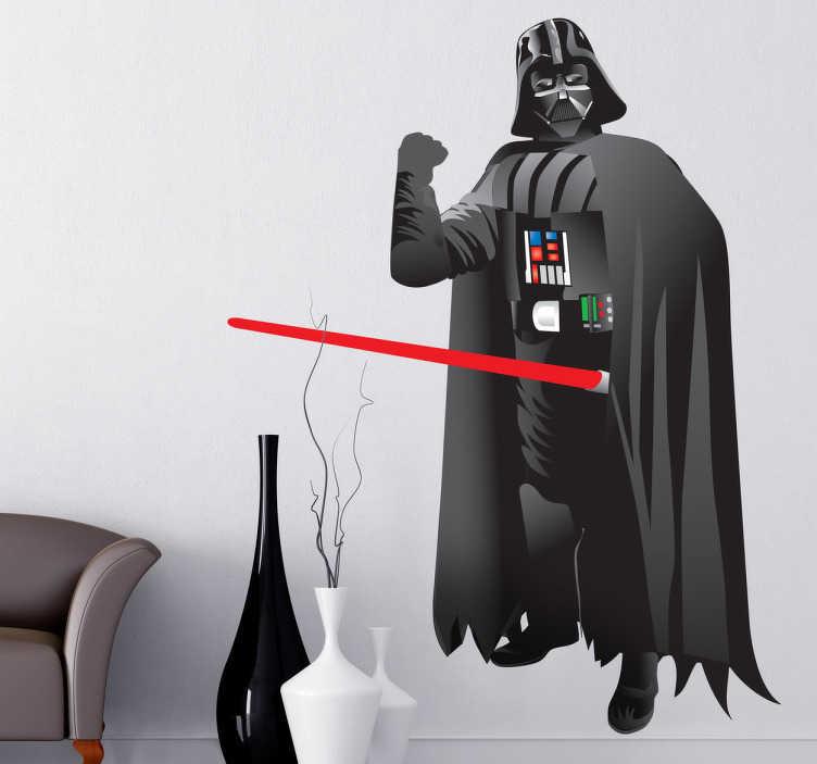 TenVinilo. Vinilo decorativo Darth Vader dibujo. Pegatina del malvado alter ego de Anakin Skywalker de la serie de películas de Star Wars de George Lucas.