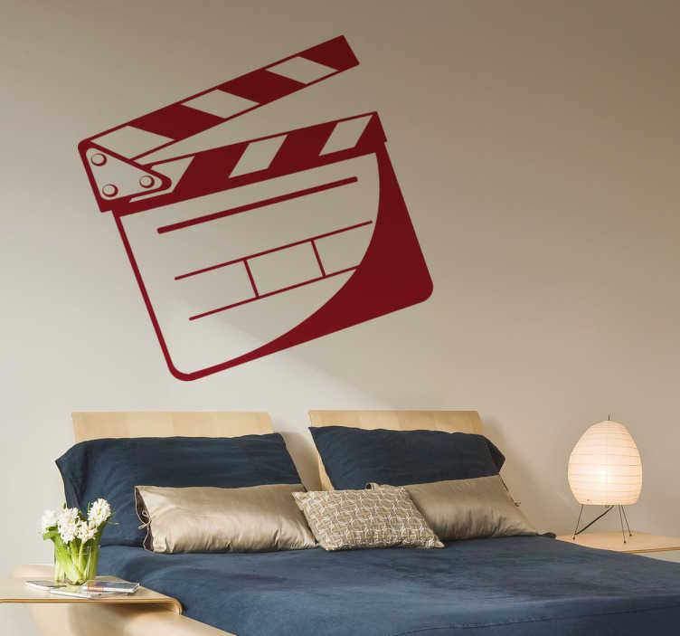 TenStickers. Naklejka klaps filmowy. Naklejka na ścianę dla dzieci przedstawiająca klaps filmowy, przyrząd używany przy kręceniu filmów. Dla wszystkich miłośników kina.