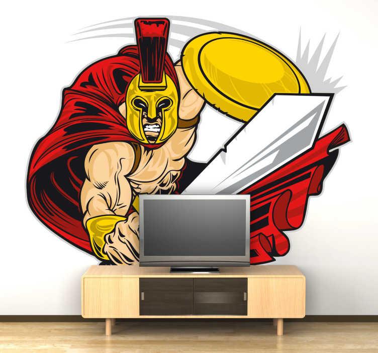 TenStickers. Sticker cartoon Spartaan gladiator. Een leuke muursticker van een Spartaanse stijder met een typische gevechtsuitrusting voor de decoratie van de muren van je woning.
