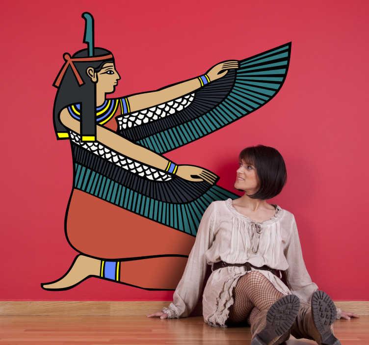 TenVinilo. Vinilo decorativo diosa egipcia. Representación divina aldada del antiguo Egipto. Adhesivo ideal para los amantes del arte antiguo.