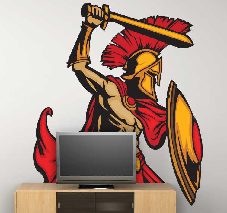 """TenStickers. Naklejka w kolorze Leónidas. Naklejka dekoracyjna przedstawiająca króla sparty w trakcie bitwy, postać ze zanego filmu """"300""""."""