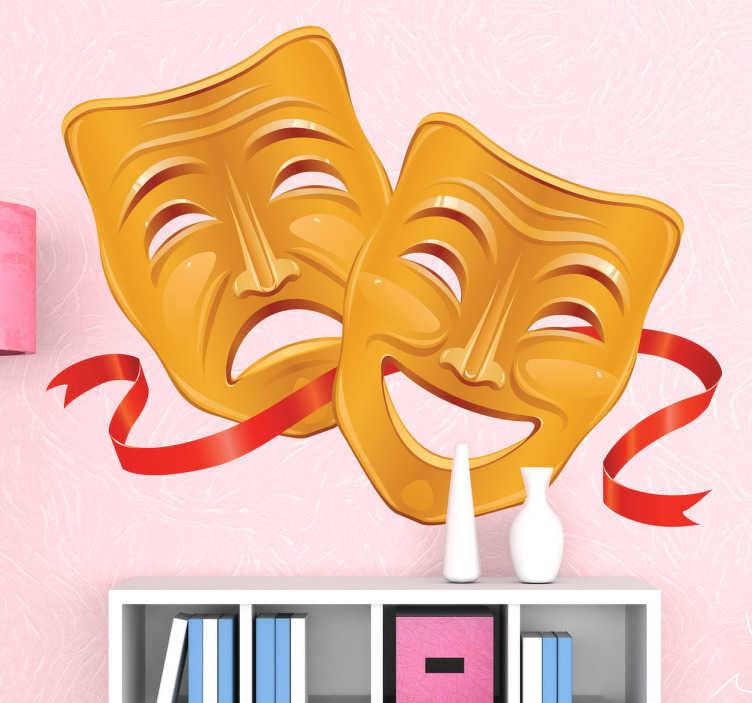 TenStickers. Theatre Masks Decorative Decal. Wall decal which illustrates the classic drawing of a happy and a sad mask, representing comedy and tragedy.