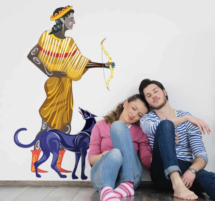 TenStickers. Naklejka dekoracyjna Artemida. naklejki na ścianę Artemida grecka bogini. Przedstawiona z łukiem w ręcę i w towarzystwie zwierzęcia. Antyczna Grecja może dosięgnąć każdego.