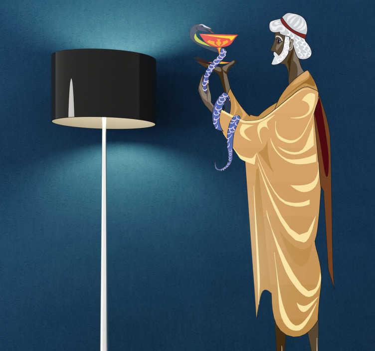 TenStickers. Heilkunst Aufkleber. Wandtattoo -  dargestellt wird der griechischen Gott der Heilkunst mit einer Schlange, dem Symbole der Medizin. Dekorationsidee für Wohnzimmer.