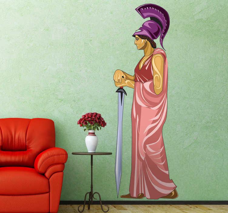 TenStickers. Naklejka dekoracyjna Atena. naklejki na ścianę. naklejka ścienna ilustrująca Atenę trzymająca miecz. Naklejka jest dostępna w wielu kolorach i na pewna nada greckiego charakteru każdemu wnętrzu.