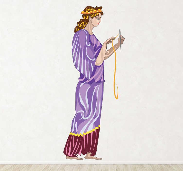 TenStickers. Clotho 그리스 신화 벽 데칼. 세 가지 운명 중 막내를 보여주는 벽 데칼,이 스티커는 바늘과 실을 들고있는 클로 토를 보여줍니다