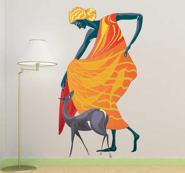 TenStickers. Naklejka dekoracyjna bogini Diana. Naklejka na ścianę rzymska bogini Diana, przedstawiona razem z psem. bogini łowów i roślinności, a póżniej bogini księżyca.