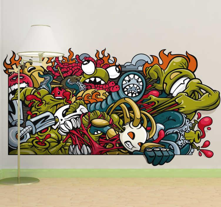TenStickers. Sticker stedelijke muurschildering. Muursticker met hierop een prachtige 3D graffiti van allerlei monsters! De geschikte wanddecoratie voor de liefhebbers van streetart en graffiti !