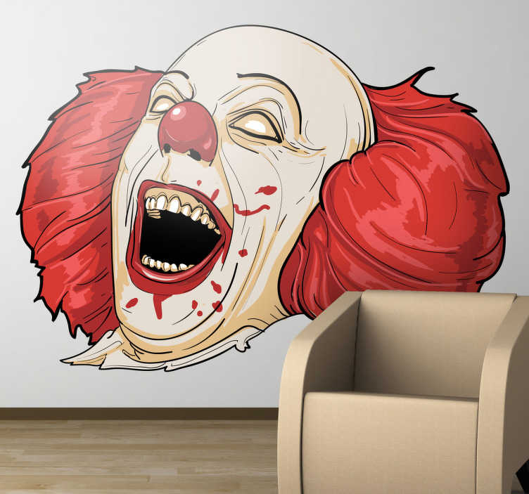 TenStickers. Sticker horror clown It. Een griezelige muursticker van de gruwlijke clown uit de film It van Stephen King! Een angstaanjagende wandsticker!