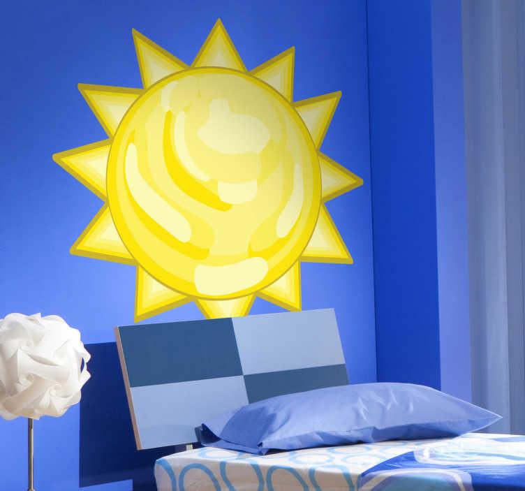 Tenstickers. Barn klistremerker sol. Levende gul solmur klistremerke for å dekorere barnas rom og bringe et snev av solskinn, farge og stil til hjemmedekningen din. Dette vinylplast av høy kvalitet er ekstremt lett å påføre og etterlater absolutt ingen rester ved fjerning.