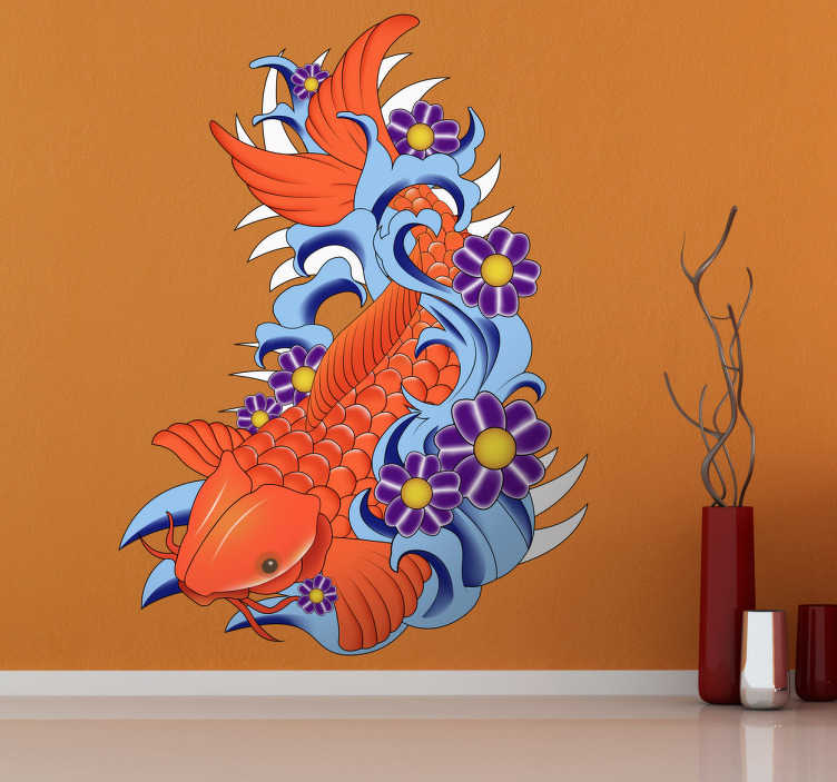TenStickers. Koi Fish Wall Sticker. Colourful and beautiful koi fish wall sticker showing a large carp fish swimming in water surrounded by lovely purple flowers. Gorgeous design to bring some colour and nature to the walls of your living room, bedroom or dining room.