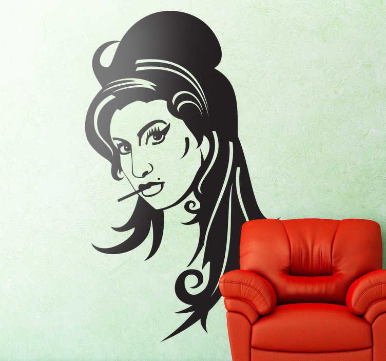 """TenVinilo. Vinilo decorativo retrato Amy Winehouse. Retrato adhesivo de la malograda cantante de soul británica autor del éxito """"Rehab"""" entre otros."""