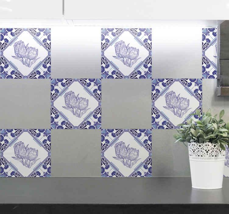 FLOWERS Tulips Tile Stickers Kitchen Bathroom Sticker Vinyl Wall Art Transfer
