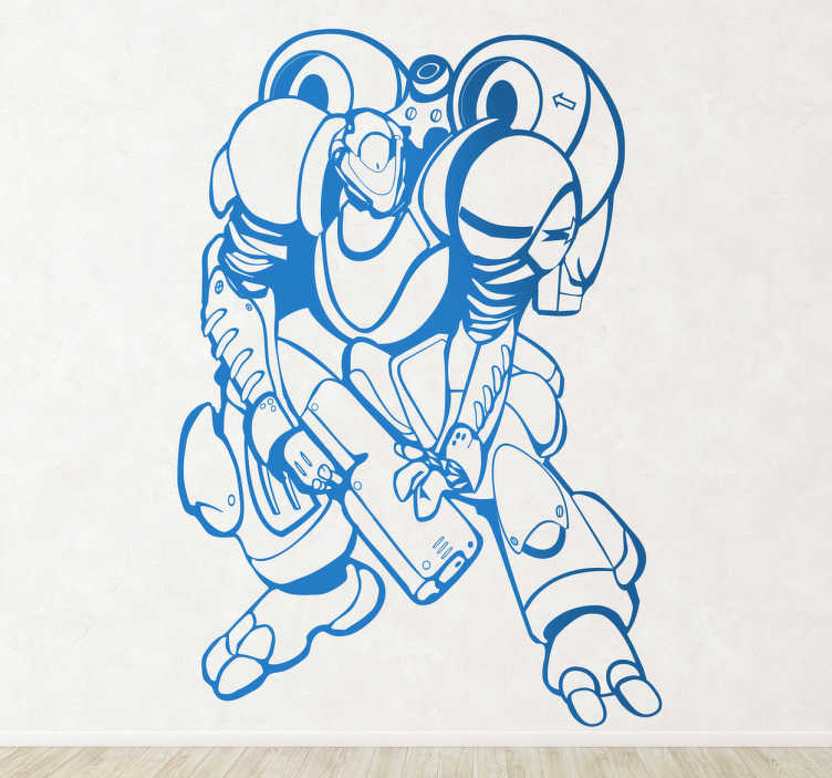 TenStickers. Wandtattoo Kinderzimmer Superroboter. Geben Sie dem Kinderzimmer eine ganz besondere Note mit diesem coolen Wandtattoo eines Superroboters mit einer schweren Waffe in der Hand!