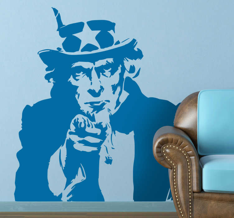 TenStickers. Uncle Sam Wall Sticker. Yes, you! Your home needs you! A room decal illustrating Uncle Sam. Brilliant monochrome wall sticker to personalise your own space.