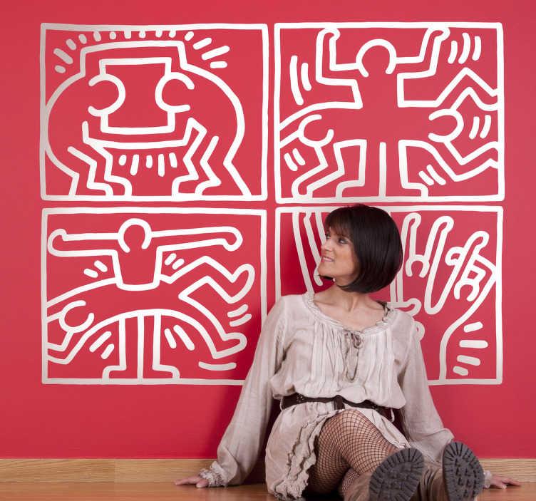 TenStickers. Sticker cartoons Haring. Een leuke muursticker gebaseerd op de werken van de Amerikaanse popartiest  Keith Haring. Een leuke wandsticker voor de kunstliefhebbers.