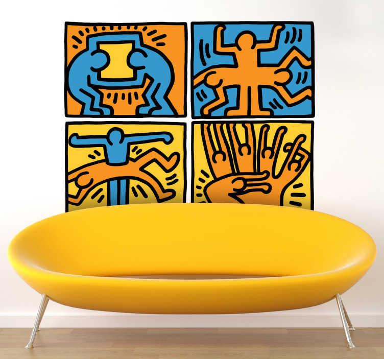 TenVinilo. Vinilo decorativo viñetas Haring. Fantástico adhesivo con una ilustración mural del gran pintor estadounidense Keith Haring.