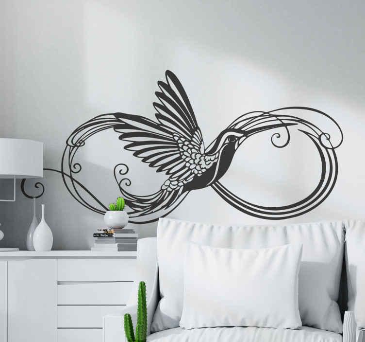TenVinilo. Vinilo de pájaros colibrí formando infinito. Hermoso vinilo de pájaros de silueta de colibrí formando un infinito para que decores tu salón o tu dormitorio ¡Elige color y medidas!