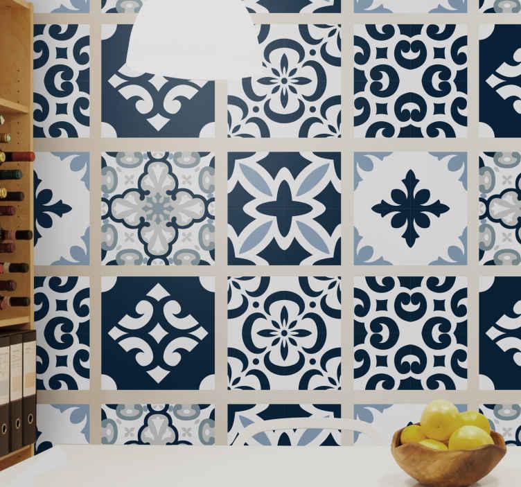 TenVinilo. Azulejos vinílicos cemento azul clásico. Maravilloso azulejos vinílicos de cemento para decorar tu cocina y tu baño. Con una concepción fascinante con pocos colores ¡Envío exprés!