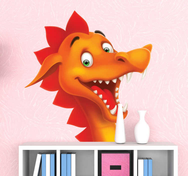 TenStickers. Sticker kinderkamer vrolijke draak hoofd. Muursticker met de afbeelding van het vrolijke hoofd van een mooie rode draak! Leuke wandsticker voor de decoratie van de slaapkamer van uw kind.