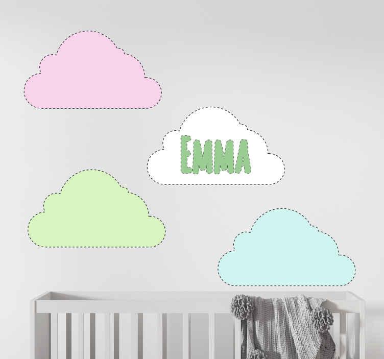 TENSTICKERS. 名前の赤ちゃんのウォールステッカーの雲. お子様の部屋を柔らかくオリジナルのスタイルで飾りたい場合は、名前の付いた最高のクラウドステッカーデザインをご用意しています。