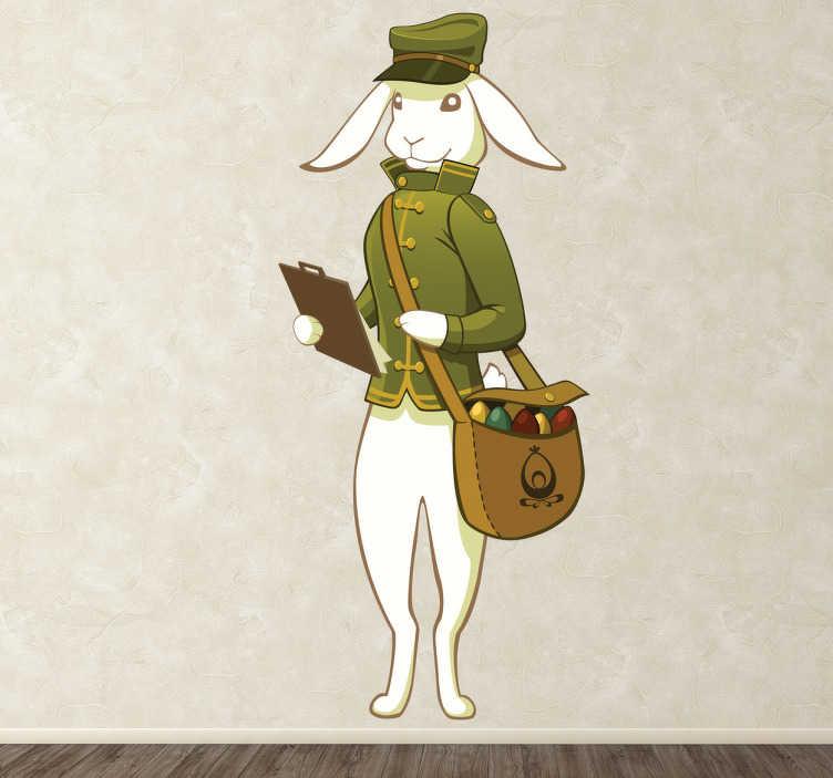 TenStickers. Sticker lapin Pâques facteur. Stickers pour enfant illustrant un lapin de Pâques distribuant les œufs en chocolat comme un facteur.