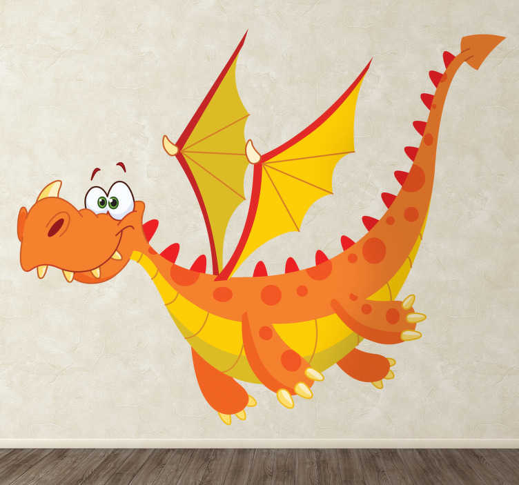 TenStickers. Orange Dragon Wall Sticker. An animated fairy tale sticker of a flying dragon with sharp teeth and big wings! This dragon decal is perfect for the little ones at home.