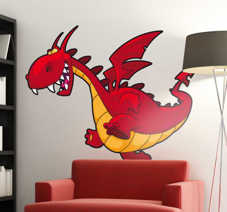 TenStickers. Kids Cartoon Dragon Wall Sticker. Wall Stickers for Kids -  A fun and colourful dragon from our collection of fantasy wall stickers. Anti-bubble vinyl.