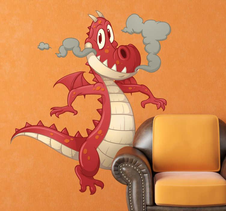 TenVinilo. Vinilo infantil dragón con humo. Adhesivo decorativo del animal mítico que todos los caballeros medievales perseguían para darles caza.
