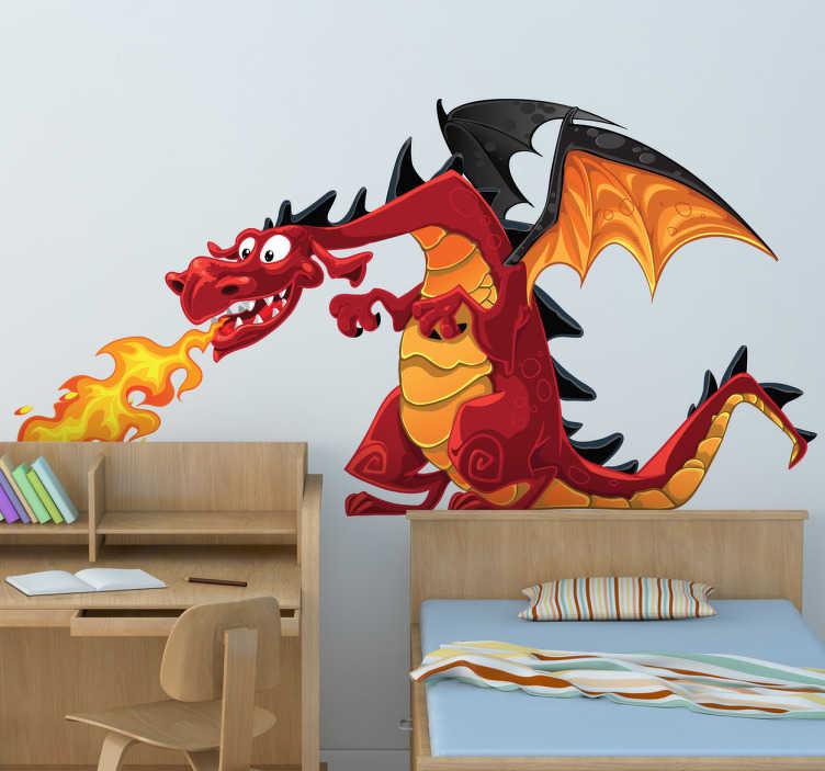 TenStickers. Muursticker Vuurspuwende Draak. Decoreer de kinderkamer met deze geweldige muursticker die een draak illustreert waarbij het vuur uit zijn mond spuwt. Dagelijkse kortingen.