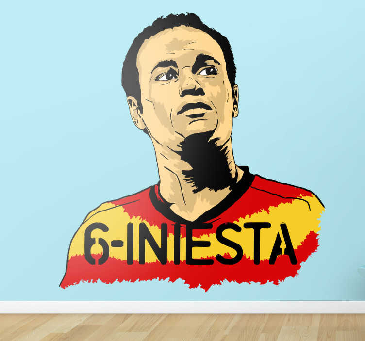 TenVinilo. Vinilo Andrés Iniesta. Pegatina de Iniesta. Designado como mejor jugador de la Eurocopa del 2012.