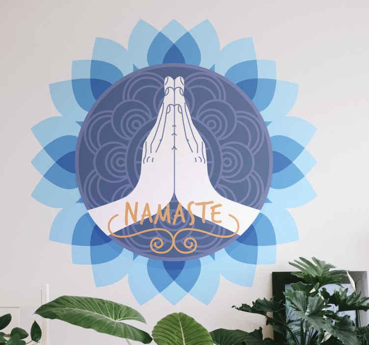 TENSTICKERS. 蓮の花ナマステ文花の壁の装飾. 瞑想とヨガのスペースを飾るためのナマステのテキストが付いた完璧な蓮の花のビニールステッカー。それは公共の場および家のために適用することができます。