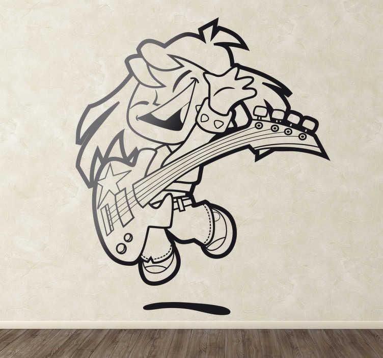 TenStickers. Genç bas oyuncu çocuklar sticker. Küçük bir kızın dekoratif çıkartması mutlu bir şekilde bas gitar çalıyor, evde küçük olanlar için mükemmel. Çocuğunuz gitar gibi müzik aletlerini seviyorsa ve süslemek istediğiniz boş bir duvar varsa o zaman bu sizin için mükemmel bir müzik duvarı!