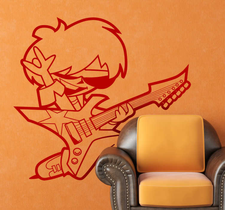 TenStickers. 年轻摇滚吉他手孩子贴纸. 壮观的孩子墙上贴着一个小摇滚明星炫耀他的吉他技巧!一个梦幻般的摇滚音乐墙贴为家里的小家伙。用这个小摇滚明星的创意和有趣的墙贴纸装饰你的孩子的房间或游戏室!