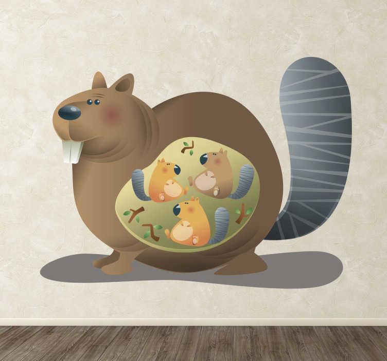 TenStickers. Sticker moeder bever met drie baby bevers. Leuke sticker, mama bever met drie baby bevers zal iedereens hart laten smelten. Leuk idee voor in de slaapkamer als de kinderen van dieren houden.