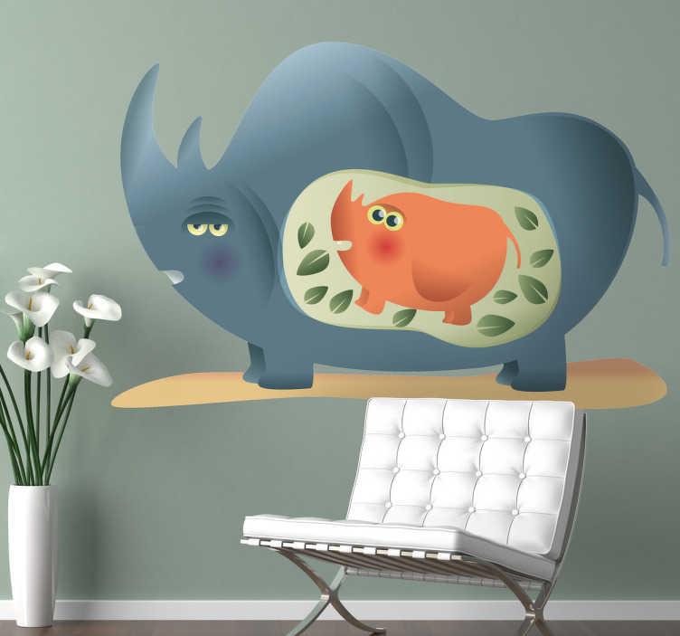 TenStickers. Muursticker neushoorn met kind. Een decoratieve muursticker met een neushoorn moeder met een kleine baby neushoorn in haar buik. Afmetingen aanpasbaar. Dagelijkse kortingen.