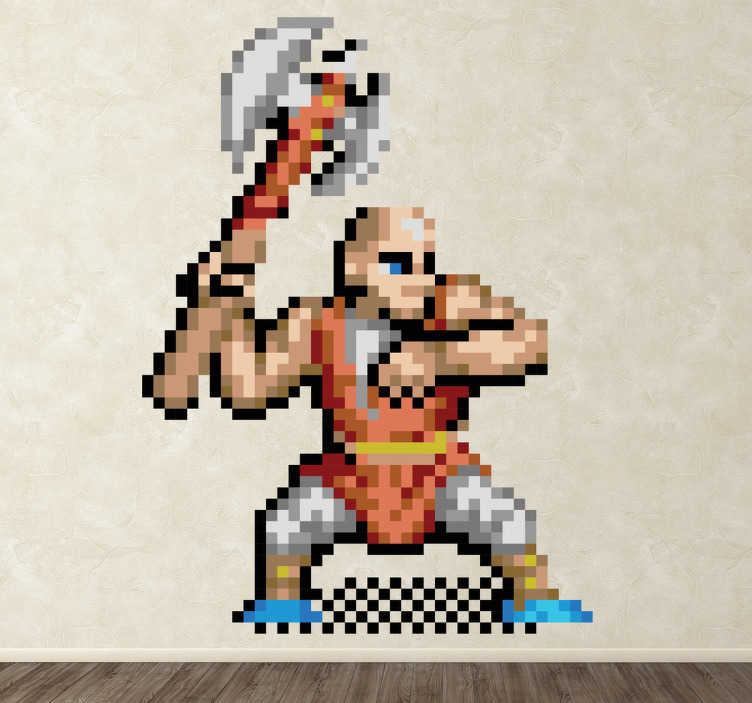 TenStickers. Naklejka pikselowa postać z gier. Naklejka na ścianę przedstawiająca wojownika z gier stojącego w pozycji gotowości do ataku, trzymającego starodawną broń.