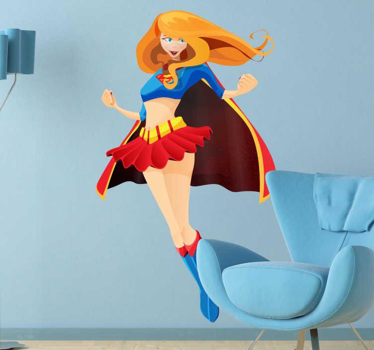 TenStickers. Sticker enfant Superwoman. Stickers pour enfant illustrant la compagne de Superman... Superwoman !Sélectionnez les dimensions de votre choix pour parvenir à la meilleure personnalisation de l'espace de jeu des enfants.Super idée déco.
