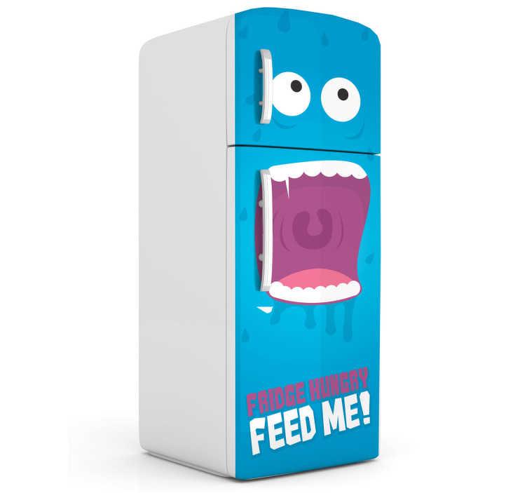 TenStickers. Sticker Koelkast monster Feed me. Een leuke interieursticker van een blauw monster dat op zoek is naar eten voor op uw koelkast. Afmetingen aanpasbaar. Ervaren ontwerpteam.