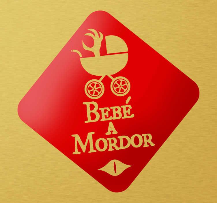 TenVinilo. Adhesivo bebé a Mordor invertido. Divertido y atrevido adhesivo decorativo para advertir al resto de conductores que en tu coche hay un pequeño monstruo