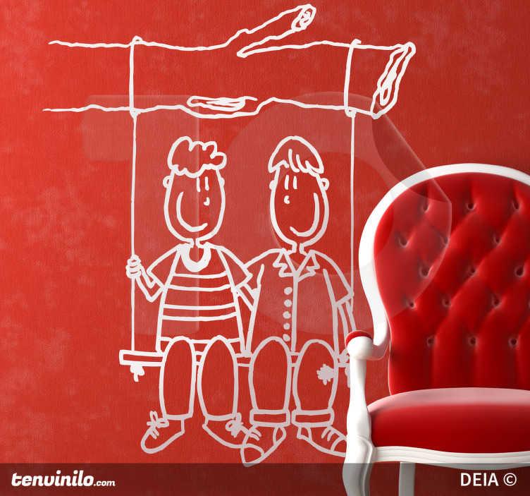 TenStickers. Adesivo bambini amici altalena. Sticker decorativo che raffigura due amici seduti assieme sull'altalena. Ideale per decorare la cameretta dei bambini. Un disegno originale di DEIA.