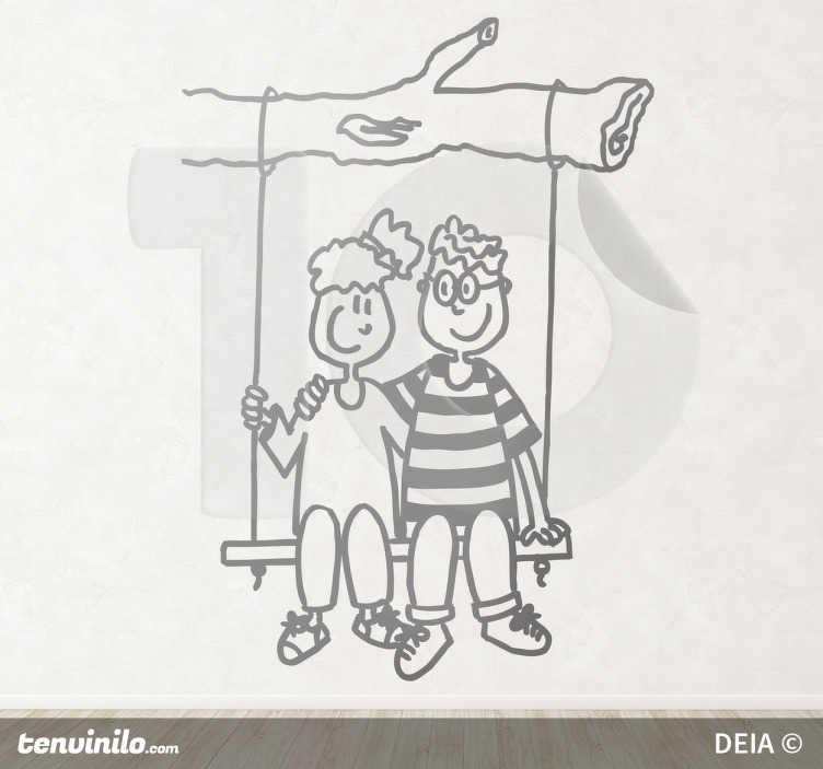 TenStickers. Sticker decorativo coppia su altalena. Wall sticker che raffigura un'allegra coppietta seduta su di un'altalena. Basato su un disegno originale di DEIA.