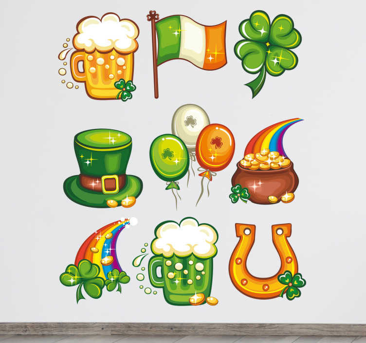 TenStickers. Sticker kit Saint Patrick's. Stickers représentant un ensemble d'éléments faisant référence à la Saint Patrick : drapeau irlandais, pinte de bière, trèfle à quatre feuilles,...