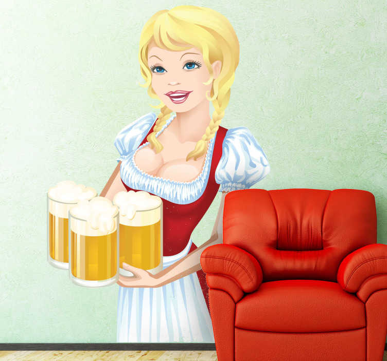 TenStickers. German Beer Sticker. A decorative vinyl decal illustrating a waitress holding beer on a tray! Superb oktoberfest sticker for those that know about this celebration!