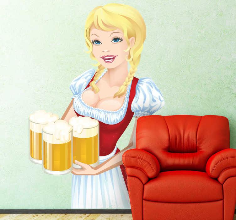 TenStickers. Sticker oktoberfest bier serveerster. Muursticker van een blonde serveerster op het bekende Duitse Oktoberfest met drie grote pinten bier vast. Leuk voor de decoratie van uw woning of bar.