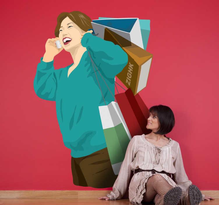 TenStickers. Naklejka szał zakupów. Naklejka dekoracyjna przedstawiająca rozradowaną kobietę rozmawiającą przez telefon z rękami pełnymi zakupów.