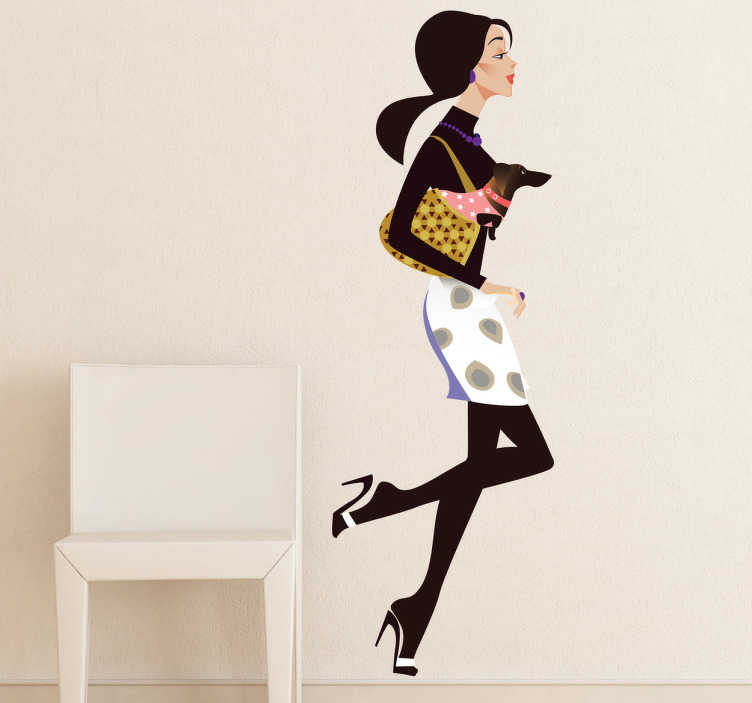 TenStickers. Lady and Little Dog Shopping Decal. A fashion wall sticker illustrating a very stylish woman running toward her favourite shop with her small dog in her bag. Perfect for shop window decal for retail stores.